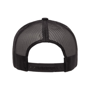 "Classic black snapback hat with ""Elegant"" and raised finger gold foil detail by BBJ / Glitter Garage. Unisex style, breathable mesh back with matching plastic snap closure fits most. Back view."