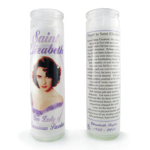 "Glass prayer-style candle devoted to actress Elizabeth Taylor with original ""prayer to Saint Elizabeth"" by BBJ - back & front view"