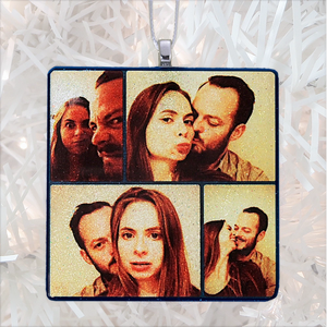 Cute couple collage square - white glitter - Custom image glass and glitter handmade holiday ornament.