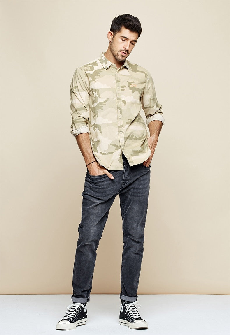 Heren Camouflage Slank Fit Shirt