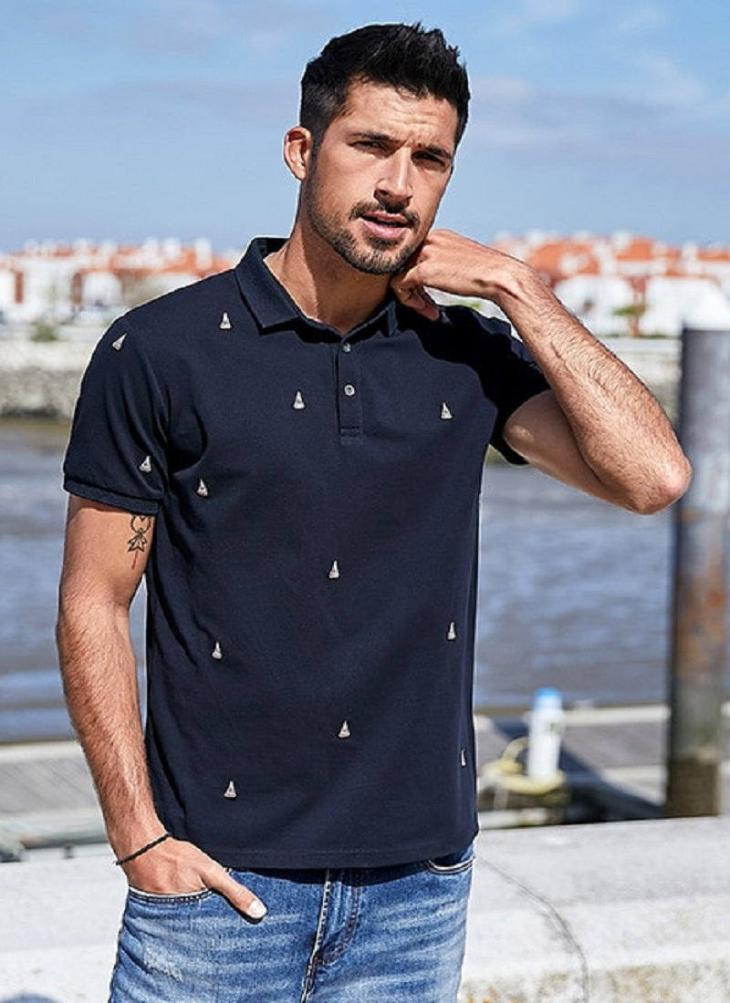 Heren Borduurwerk Katoenen Polo T-Shirt