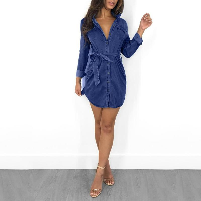 Dames Lange Mouwen Denim Mini-Jurk