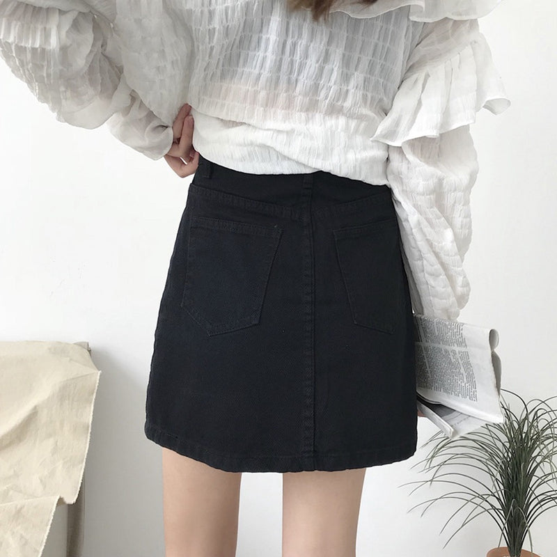 Dames Hoge Taille Denim Mini Rok