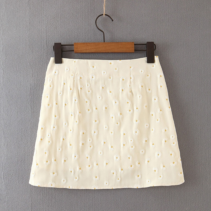 Dames Borduursel Split Chiffon Rok