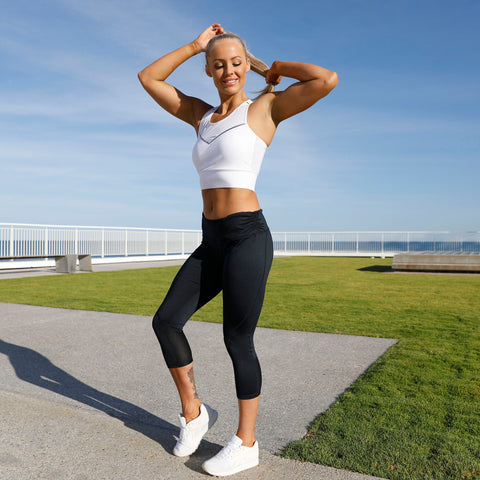 Visigo Herse Fitness Black Cropped Leggings W7PT7506