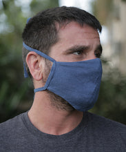 Load image into Gallery viewer, We are now offering our four tie mask with stretch. This style has four straps that tie easily behind the head and neck for a snug fit.  Mask is two layers with a pocket. Shown here in Ocean Blue.