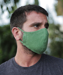 This style combines a tailored mask with earloops for a snug fit with ease and comfort. Shown here in Treetop Green.
