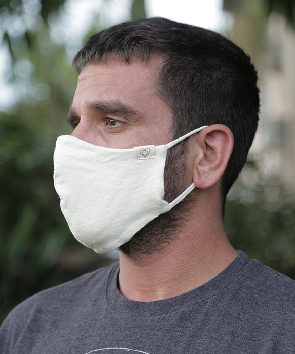 We are now offering our classic ear loop mask with stretch. This style combines a tailored mask with earloops for a snug fit with a little extra ease. Mask is two layers with a pocket. Shown here in Natural.