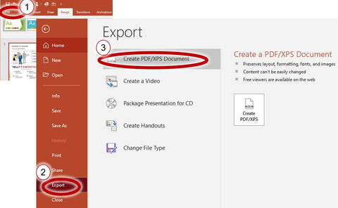 PowerPoint - Export your presentation to a PDF