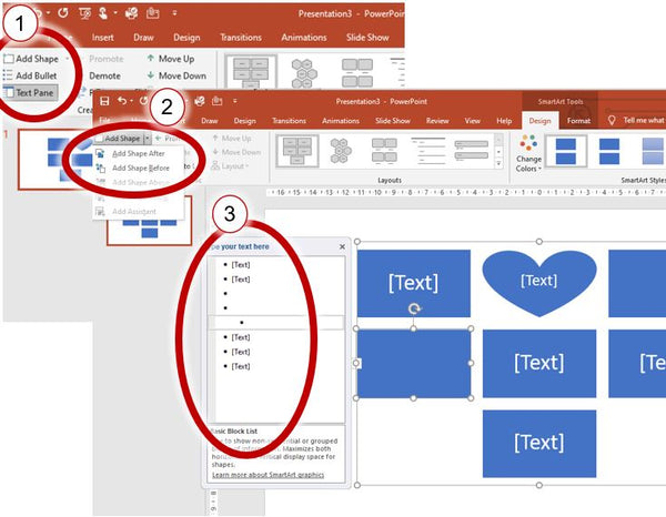 Adding or deleting shapes to the Smart Art graphics in PowerPoint