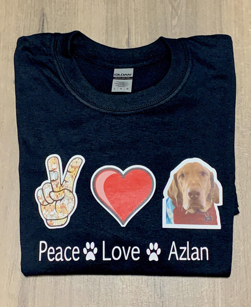 Custom Peace Love Dog T-Shirt with Your Pet's Picture - Pets Supply Depot