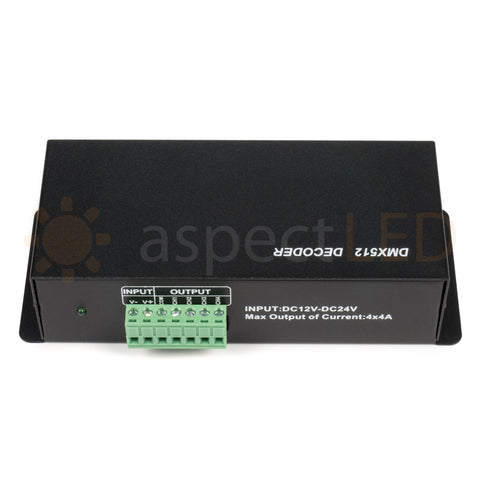 4-Channel (RGBW) DMX512 Decoder and LED Driver with RJ45 and XLR ports