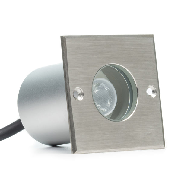 Hooded Led Wall Ground Light: Small Square In-Ground 3W LED Well Light/Deck Light