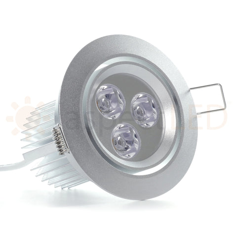 Satin nickel finish on 9W recessed LED light