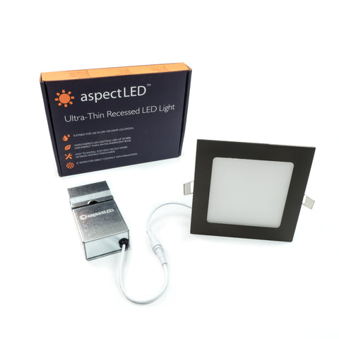 "6"" Ultra-Thin Square Recessed In-ceiling Light - 9 Watt (65 Watt Equivalent)"
