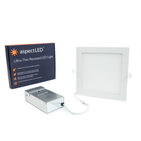 "9"" Ultra-Thin Square Recessed In-ceiling Light - 18 Watt (125 Watt Equivalent)"