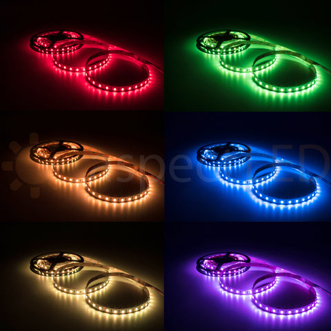 W-Series RGB Color Changing Flexible LED Strip Light - Ultra Bright (18 LEDs/foot)