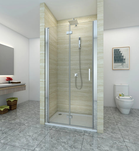 Frameless Bifold Pivot Shower Screen Door Wall to Wall Large Entry