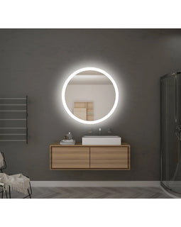 Round Bathroom Mirror LED Lighted Touch Switch Wall mounted Antifog