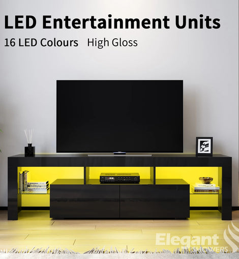 TV Cabinet Entertainment Unit Stand Gloss Furniture Black Handle-free ELEGANT