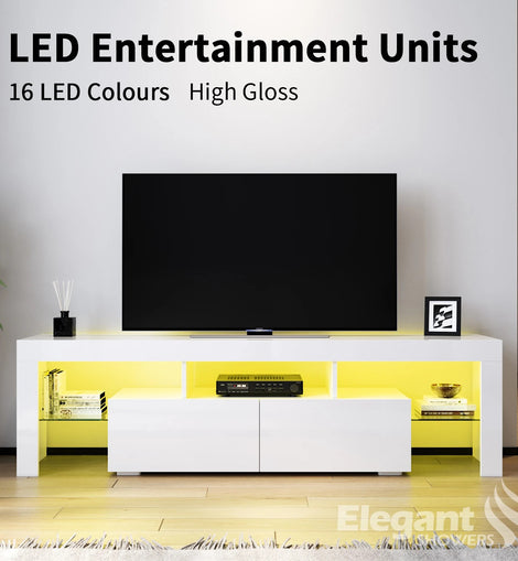 TV Cabinet Entertainment Unit Stand Gloss Furniture White RGB LED 1600mm ELEGANT