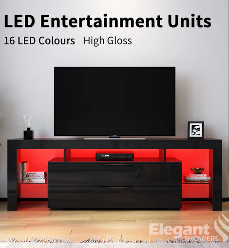 TV Cabinet Entertainment Unit Stand Gloss Furniture Black RGB LED 1600mm ELEGANT
