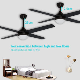 1200mm 48'' Ceiling Fan AC 4 Blades With LED Light And Remote Control