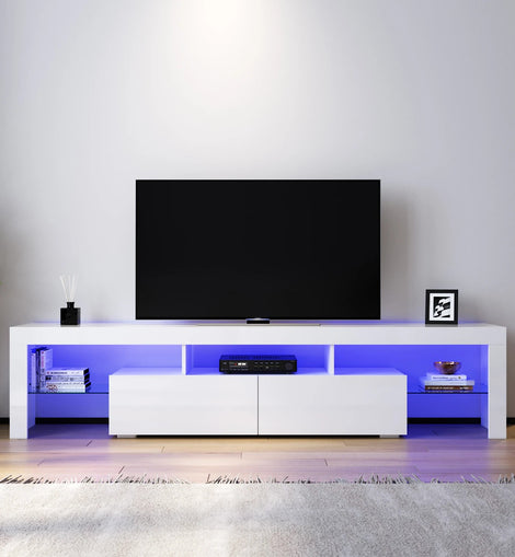 TV Cabinet Entertainment Unit Stand Gloss Furniture White Handle-free ELEGANT