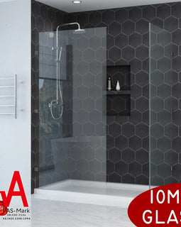 Walk In Shower Frameless Hinged Fixed Panel-10mm Toughened Glass