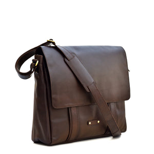 Style n Craft's Full Size Messenger Bag in Dark Brown Top Grain Leather Represents the Leather Messenger Bags, Crossbody Bags & Totes Category