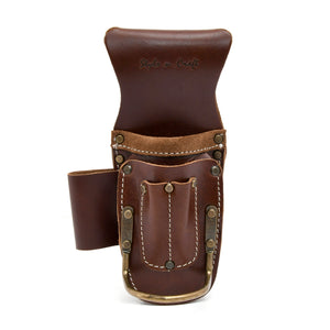 Style n Craft's Tool Holder That Can Hold Multiple Tools Like Pliers, Cutters, Hammer, Flashlight & Pencils. Made out of Dark Tan Top Grain Leather. Has Antique Finish Metal Hardware. Representative Image for the Style n Craft Tool Holders Category