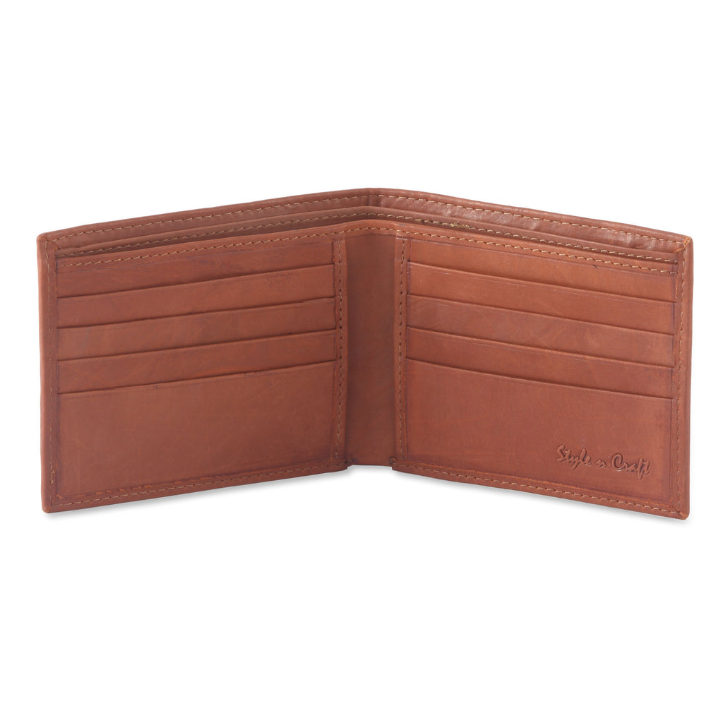 Style n Craft 200160 - slim bifold wallet in tan color cow leather - open view