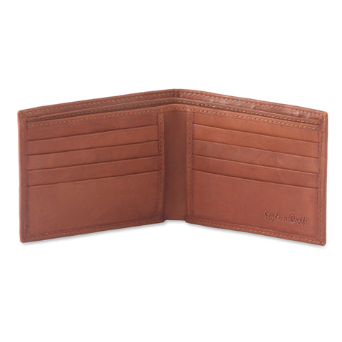 Style n Craft 200160-TN Slim Bifold Leather Wallet in Tan Color