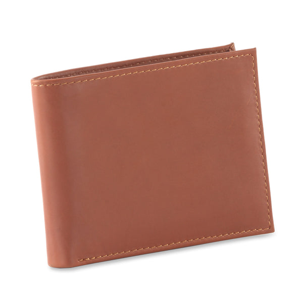 Style n Craft 200161 bifold wallet with center flap in tan color leather - closed view