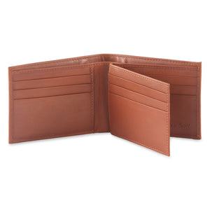 Style n Craft 200161 bifold wallet with center flap in tan color leather - open view 1