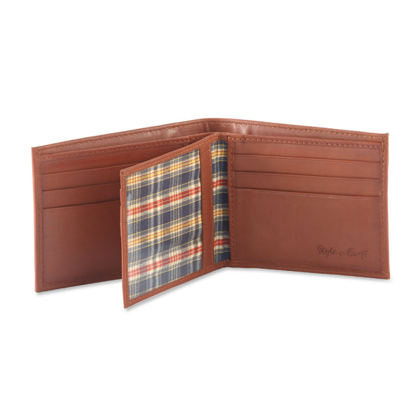 Style n Craft 200161 bifold wallet with center flap in tan color leather - open view 2