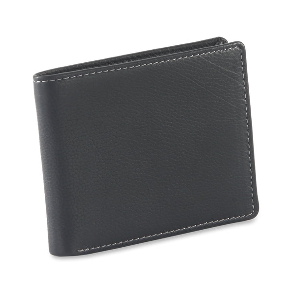 Style n Craft 200166 bifold wallet with side flap in black color leather - closed view