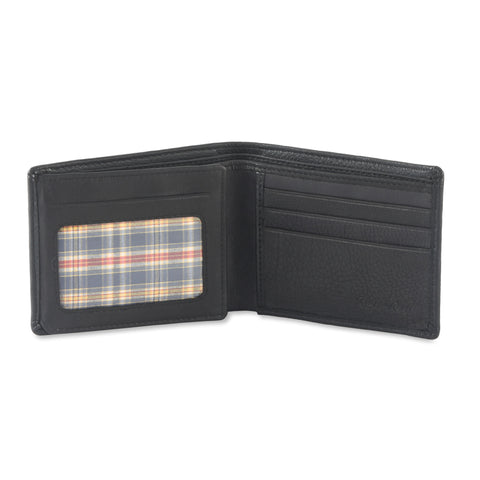 200166-BL Bifold Leather Wallet with Side Flap in Black | Style n Craft