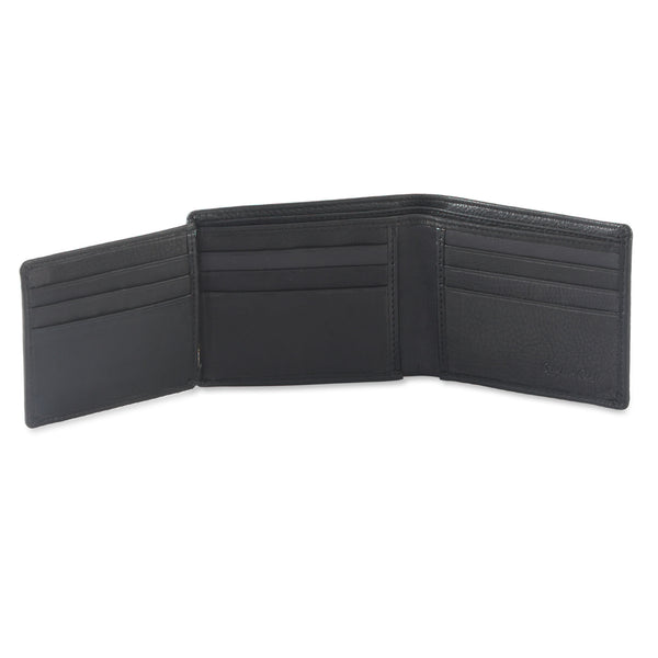 Style n Craft 200166 bifold wallet with side flap in black color leather - open view 2