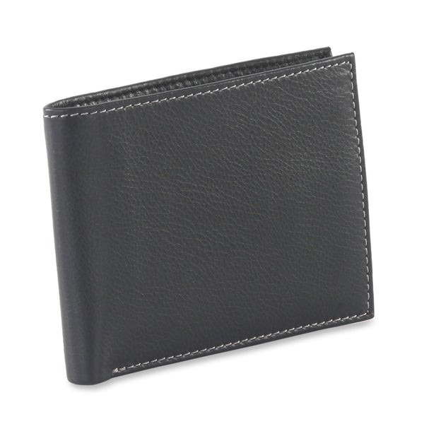 Style n Craft 200302 bifold wallet with center flap in black color leather - closed view