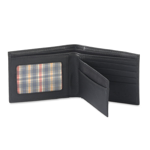 Style n Craft 200302 bifold wallet with center flap in black color leather - open view 1
