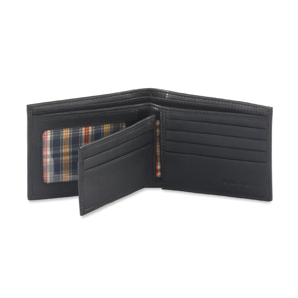 200302 bifold wallet with center flap in black color cow leather - open view 2