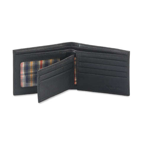 Style n Craft 200302-BL Black Bi-fold Leather Wallet with Center Flap