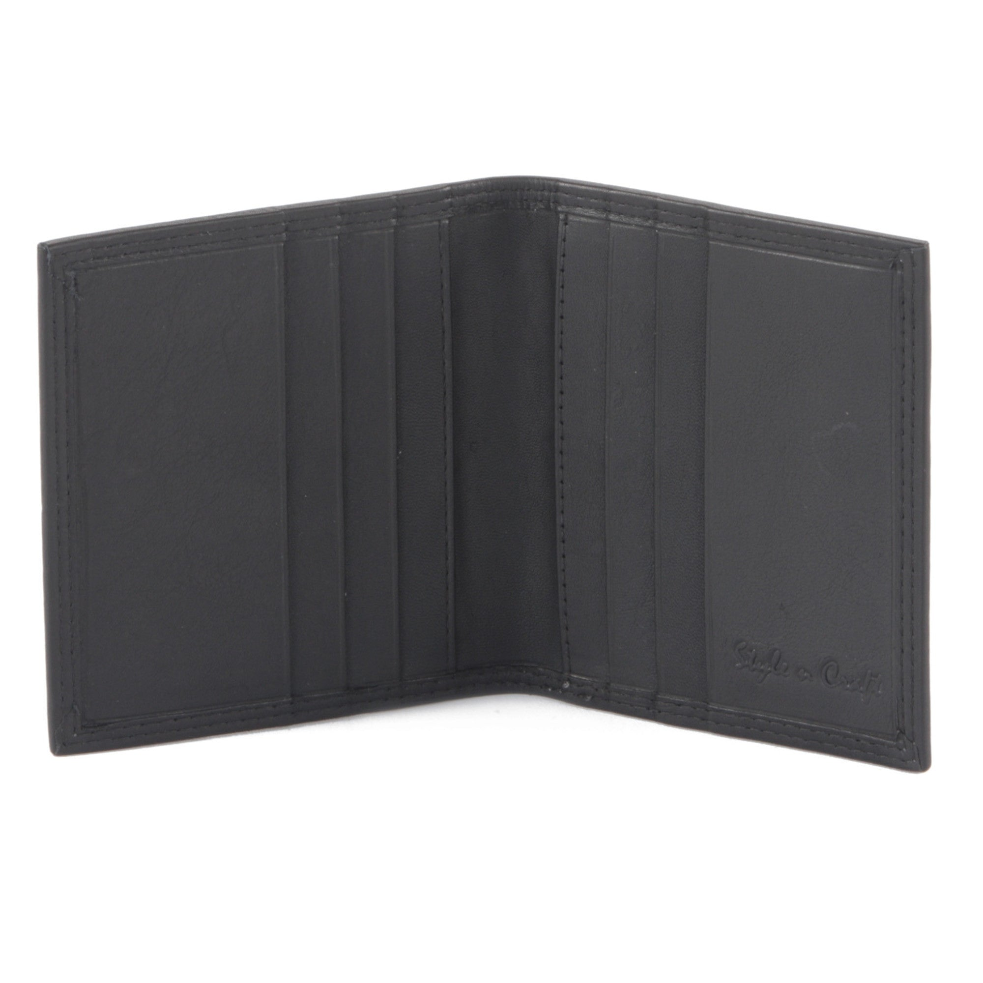 Style n Craft 300703-BL Credit Card / Business Card Case in Black Leather - Open View