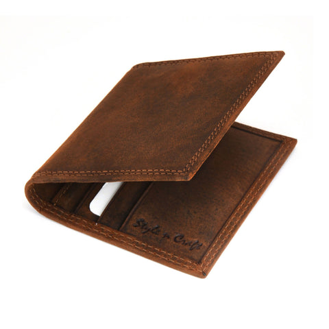 Style n Craft 300703-BR Credit Card / Business Card Case in Brown Leather with Vintage like 2 Tone Effect & Double Stitching on the outside. It has RFID Protection. Closed Angled View