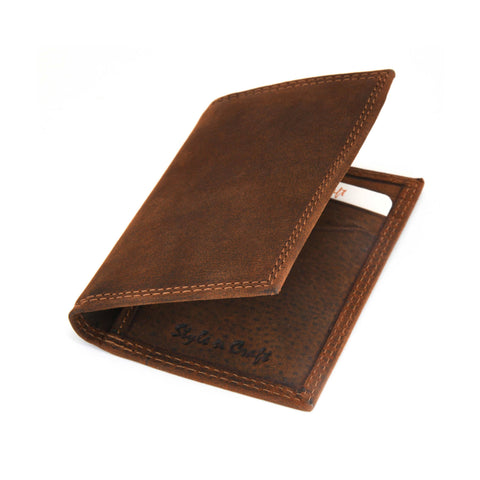 Style n Craft 300704 Credit Card / Business Card Case in Brown Leather with RFID - front closed angled view