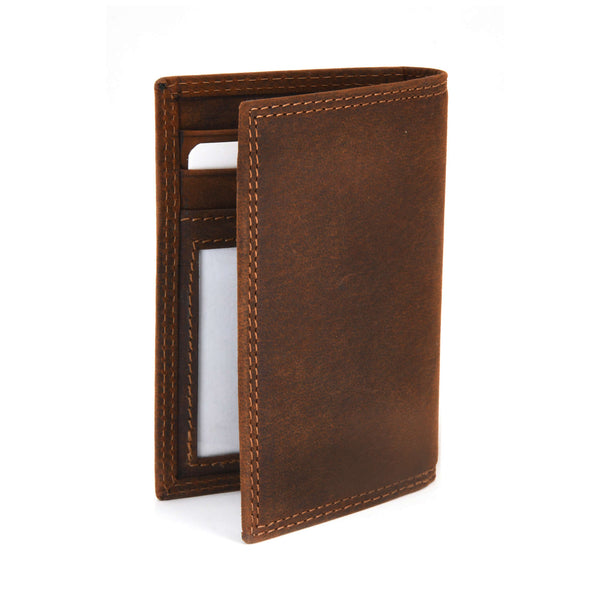 Style n Craft 300704 Credit Card / Business Card Case in Brown Leather - back, closed view