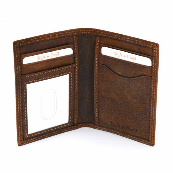 Style n Craft 300704 Credit Card / Business Card Case in Brown Leather - open view