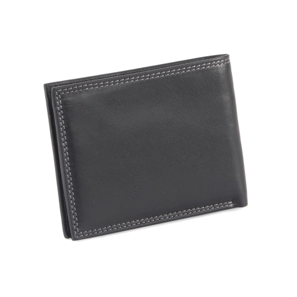 Style n Craft 300720-BL Slim bi-fold wallet in black top grain leather - closed back view