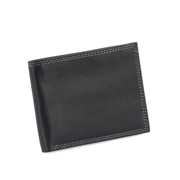 Style n Craft Slim bi-fold wallet in black top grain leather - closed front view